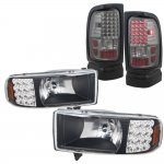 Dodge Ram 3500 1994-2002 Black Headlights with LED Corner Lights and Smoked LED Tail Lights