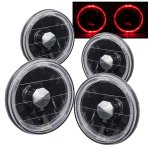 Toyota Celica 1971-1979 Red Halo Black Sealed Beam Headlight Conversion Low and High Beams