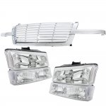 Chevy Silverado 2003-2005 Chrome Billet Grille and Clear Headlights Bumper Lights
