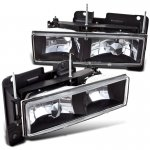 1998 Chevy 3500 Pickup Black Crystal Euro Headlights