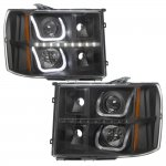 2011 GMC Sierra Black Halo Bar Projector Headlights LED DRL