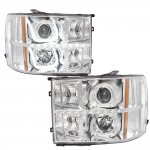 2009 GMC Sierra Chrome Halo Bar Projector Headlights LED DRL