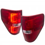 2009 Ford F150 Red LED Tail Lights Clear Tube