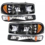 GMC Sierra 2500 1999-2004 Black LED DRL Headlights and Bumper Lights