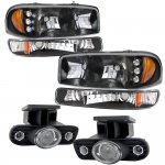 GMC Sierra 1999-2002 Black LED DRL Headlights Set and Projector Fog Lights