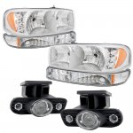 GMC Sierra 2500 1999-2002 Chrome LED DRL Headlights Set and Projector Fog Lights