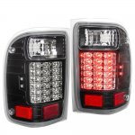 2001 Ford Ranger LED Tail Lights Black Clear