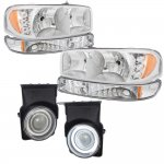 2003 GMC Sierra Chrome LED DRL Headlights Set and Halo Projector Fog Lights