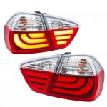 BMW E90 Sedan 3 Series 2005-2008 Tube LED Tail Lights Red Clear