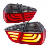 BMW E90 Sedan 3 Series 2005-2008 Tube LED Tail Lights Red Smoked