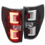2010 Ford F150 Black LED Tail Lights Clear Tube