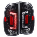 1999 Ford F150 LED Tail Lights Black