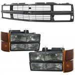 1998 Chevy 1500 Pickup Black Grille and Smoked Headlights Set