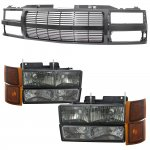 1998 Chevy 3500 Pickup Black Billet Grille and Smoked Headlights Set