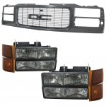 GMC Sierra 1994-1998 Black Grille and Smoked Headlights Set