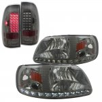 1999 Ford F150 Smoked LED DRL Headlights and LED Tail Lights