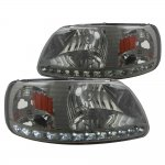1999 Ford F150 Smoked LED DRL Headlights One Piece