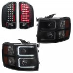 Chevy Silverado 3500HD 2007-2014 Black Smoked DRL Projector Headlights and Black LED Tail Lights