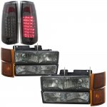 1998 GMC Sierra 2500 Smoked Headlights and LED Tail Lights