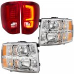 Chevy Silverado 2007-2013 Clear LED DRL Headlights and Signature LED Tail Lights Red