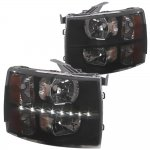 2013 Chevy Silverado 2500HD Black Smoked LED DRL Headlights