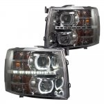 2013 Chevy Silverado 2500HD Smoked Halo LED DRL Projector Headlights