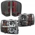2013 Chevy Silverado 2500HD Smoked Halo DRL Projector Headlights and LED Tail Lights