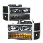 1998 Chevy 3500 Pickup Black DRL Headlights and LED Bumper Lights