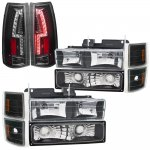 GMC Sierra 1994-1998 Black Headlights and Custom LED Tail Lights