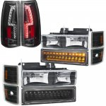 GMC Sierra 1994-1998 Black Headlights LED DRL and Custom LED Tail Lights