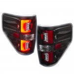 2009 Ford F150 Black LED Tail Lights Red Tube