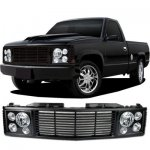 1993 Chevy 3500 Pickup Black Billet Grille and Headlight Conversion Kit