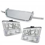 2004 Chevy Silverado Chrome Mesh Grille and Clear Headlights Set