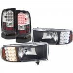 1997 Dodge Ram Black Headlights LED Signal and LED Tail Lights Black Chrome
