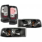 2000 Dodge Ram Black Headlights and LED Tail Lights Black Chrome