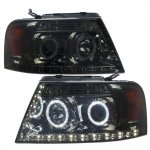 2007 Ford F150 Smoked Projector Headlights Halo LED DRL