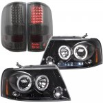 Ford F150 2004-2008 Black Tinted Halo Projector Headlights and Smoked LED Tail Lights