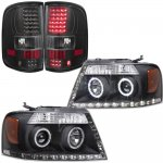 2004 Ford F150 Black LED DRL Halo Projector Headlights and LED Tail Lights
