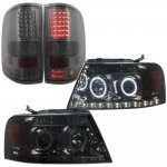 Ford F150 2004-2008 Smoked LED DRL Halo Projector Headlights and LED Tail Lights