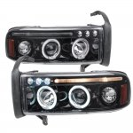2001 Dodge Ram 2500 Smoked LED Eyebrow Projector Headlights with Halo