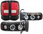Dodge Ram 2500 1994-2002 Black Tinted Halo Projector Headlights and LED Tail Lights Red Clear