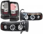 1996 Dodge Ram Black Tinted Halo Projector Headlights and LED Tail Lights Black Chrome