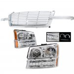 Chevy Silverado 2003-2005 Chrome Billet Grille and Halo Headlights LED Bumper Lights