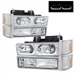 GMC Sierra 1994-1998 Clear LED DRL Headlights and Bumper Lights