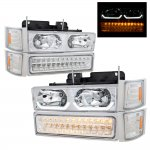 GMC Sierra 2500 1994-2000 Clear DRL Headlights and LED Bumper Lights