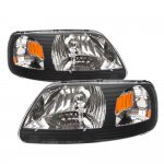 1999 Ford F150 Black One Piece Headlights