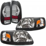 1999 Ford F150 Black Chrome Headlights and LED Tail Lights