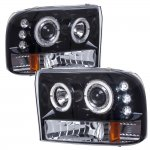 2002 Ford F250 Super Duty Smoked Halo Projector Headlights with LED