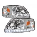 1999 Ford F150 Clear Crystal Headlights LED DRL