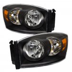 Dodge Ram 2500 2006-2009 Black Euro Headlights